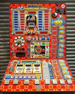 Alice`s Diamond Deal  - Latest £100 Jackpot Pub Fruit Machine - Note Acceptor